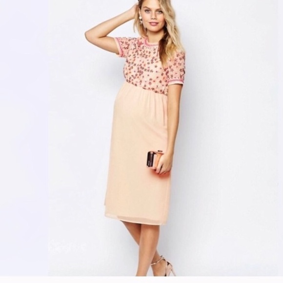 a97a56c76fde3 ASOS Maternity Dresses & Skirts - ASOS Maternity Pink Sequin Embellished  Midi Dress